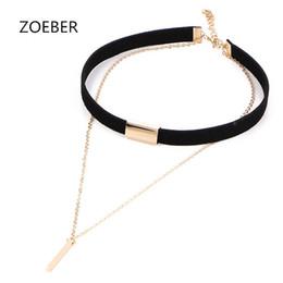 Wholesale Punk Multilayer Chain Necklace - Zoeber Black necklace torques romantic New Punk For Women femme multilayer Velvet Choker Necklace Gothic Retro Burlesque Ribbon