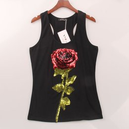 Wholesale Black Sequin Tank Top - 2 Colors Summer Style Tank Top Women Rose Sequins Sequined Vest Camisole Women Tops Fashion Sexy Hot Racer Back Tank Tops