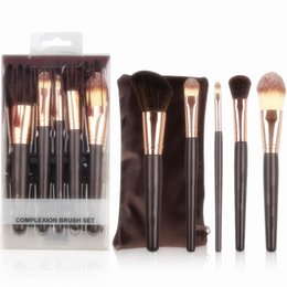Wholesale Pack Suits - Brand Makeup 5pcs Complextion Highlighter Makeup Brushes Sets Travel Suit Make Up Brush Tool Kit With Retail Box Packing