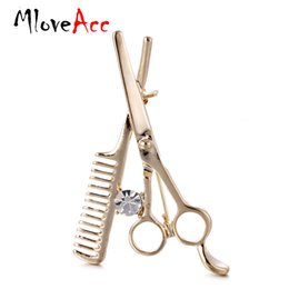 Wholesale Dress Scissors - MloveAcc Comb Scissors Brooch Hat Collar Clips Bijoux Austrian Crystal Hijab Pins Up Brooches for Wedding Dress Girl Jewelry