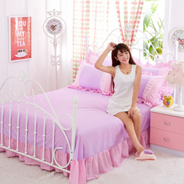 Wholesale pink lace bedspreads - Purple Lace Korean bedding set bedspread beautiful princess style girls solid queen king size Good quality bed sheet duvet 45