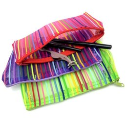 Wholesale Transparent Toiletry Bags - Transparent Striped Cosmetic Bag Multicolor Colorful Make Up Bag Toiletry Kit Women Trend Travel Makeup Bag OOA3929