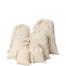 Sacchi personalizzati online-Sacchetti di favore di compleanno del partito di cerimonia nuziale delle borse del braccialetto del braccialetto dei sacchetti del lino dei monili molti formati Sacchi di iuta Sacchetti d'imballaggio di regalo di marchio su ordinazione