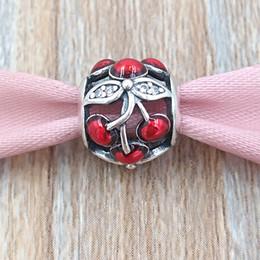Perline dolci online-Autentico argento 925 perline argento rosso smalto dolce ciliegie fascino adatto europeo Pandora gioielli stile collana bracciali 791900EN