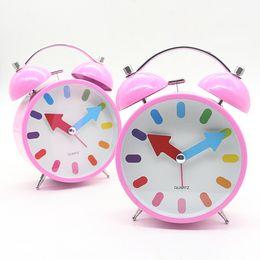 "Wholesale Silent Alarm - Metal Mute Alarm Desk Clock Creative Bedside Bell Watch Table Silent Pink for Kids 4.5"""