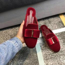 Zapato de mocasín zapato online-Los zapatos de vestir de las mujeres pisos mocasines de verano se deslizan en las correas de cuero genuino bowtie hebilla zapatillas de gamuza marca F bombas de tacón bajo zapatos casuales