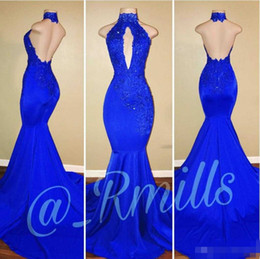 Wholesale Stretchy Lace Dress - New Arrival 2018 Royal Blue Mermaid Prom Dresses Halter Neck Keyhole Backless Stretchy Long Evening Gowns Celebrity Dress 2K18 Rachael Mill