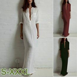 4ac6132e751d Plus Size S-XXXL Moda Donna Maxi vestito lungo da sera in cotone con  maniche lunghe in misto lino
