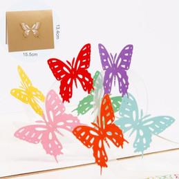 3d karten diy online-3D Pop Up Rainbow Bufferfly Geschenkkarten Origami Papier Laser geschnittene Grußkarten handgefertigte Vintage Geburtstag Postkarten DIY danke Karten