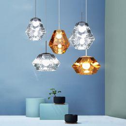 fate luce porcellana Sconti Lampade moderne a sospensione a forma di diamante Lampada a sospensione in vetro ambra a LED per ristorante bar caffetteria soggiorno illuminazione domestica H039