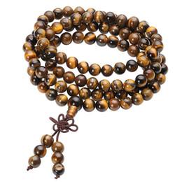2019 gebrauchte perlen 108 tibetische buddhistische Mala natürliche Tigerauge Edelstein Perlen Halskette mit doppeltem Verwendungszweck Armband gewickelt Holz Gebet für Meditation günstig gebrauchte perlen