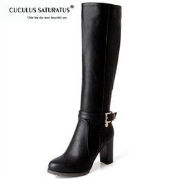 53cfe946f6f0f Cuculus Hot sale fashion soft pu leather high heels knee high boots buckle  boats women motorcycle boots autumn winter shoes 1475
