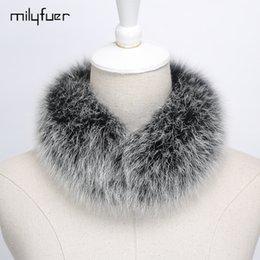 Wholesale Real Fox Scarf - Milyfuer Real Fox Fur Collar Shawl Women Natural Fox Fur Warm Winter Scarves Natural Collar Casual 45cm 10 Color Women Scarf