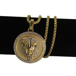 Relleno caliente online-Hot Mens Hip Hop Joyería Helado 18K Chapado En Oro Moda Bling Bling Lion Head Colgante Hombres Collar Lleno de Oro Para Regalo / Presente