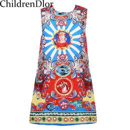 Wholesale patterns toddler dresses - Toddler Autumn Dress Girls Clothes 2017 Novelty Girl Dresses with Floral Printed Pattern O Neck Kids Dresses for Girls Costume