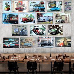 Оловянные вагоны онлайн-VW Bus Vintage Car Tin sign Tinplate Plaques Poster Art wall decoration House Cafe Bar Retro Metal Painting Mix order 20*30 CM
