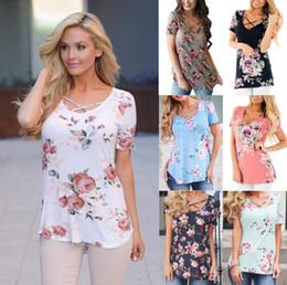 Wholesale V Neck Tops Women - Women Floral Print T-Shirts Summer Tops Casual Bandage Cross V-Neck Tee Shirt Floral Printing T-shirts OOA4904