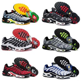Wholesale Golden Rubbers - 10 Colors 2018 Newert Mens Running Shoes TN Shoes Men PLUS TXT TN Black Red Golden silvery Grey cushion shoes Lace Sneakers