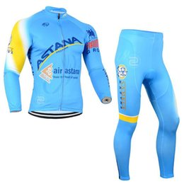 Wholesale Astana Cycling Clothes - ASTANA team Cycling long Sleeves jersey (bib) pants sets Quick Dry Bicycle wear clothing ropa ciclismo hombre c1302