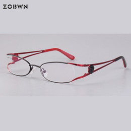 98d30e4f18d Fashion half frame Women Eyeglasses Ladies Spectacles Frame Women s Glasses  Brand Designer red black fake full rim eyewear