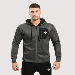 body fit clothing Promo Codes - 2017 Brand Mens Hoodies Fitness Long Sleeve Body bulding Zipper Sweatshirts Gyms Muscle Fit Clothes Hooded Jackets