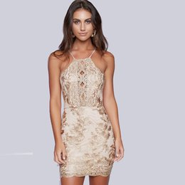 Wholesale Printed Mini Skirts - Summer Sexy Backless Bodycon Dresses Halter Sheath Column Women's Clothing Floral Print Mini Sleeveless Skirt EmBroidery Lace Party Sundress