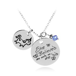 Wholesale Letter Beads Pendants - She Believed She Could So She Did Unicorn pendant Blue Bead Motivational Inspirational Jewelry letter necklace Graduation Gift 380006