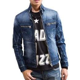 e8576c9fa279 ABOORUN Korean Mens Skinny Denim Jacken Gefälschte Taschen Patchwork Dünne  Jacken Frühling Herbst Mantel für Männer x1022