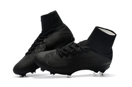 Wholesale New Football Boots - 2018 New Arrival Full Black Soccer Cleats Mercurial Superfly Soccer Shoes High Ankle Cristiano Ronaldo Mens Football Boots