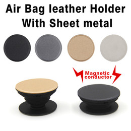 Wholesale Air Bags For Cars - Leather PU Magnetic conductor Air Bag phone holder magnet Car holder For iphone Samsung LG Motorola HUAWEI bobbin winder Can make LOGO