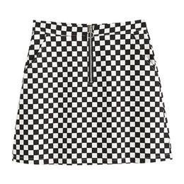 Wholesale Korean Slim Skirt - Wholesale-2017 Summer Korean Style Black White Plaid High Waist Slim A-line Female Skirts