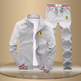 Wholesale Long Zip Sweatshirt - New Men's Sporting 2018 Men's Sportwear Suit Sweatshirt Tracksuit Without Hoodie Men Casual Active Suit Zipper Outwear 2PC Jacket+Pants Sets