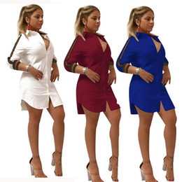 2018 Womens Loose Deep V-Neck Décontracté Robe Sexy T-shirt Vintage  Turn-down Col Imprimé Robe 2018 Spr Femmes Long Manches Button Night Club D 258be97540da