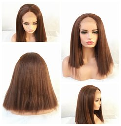 Wholesale Glueless Full Lace Wig Synthetic - Charming 6# Brown Kinky Straight Long Full Lace Wigs with Baby Hair Heat Resistant Glueless Synthetic Lace Front Wigs for Black Women