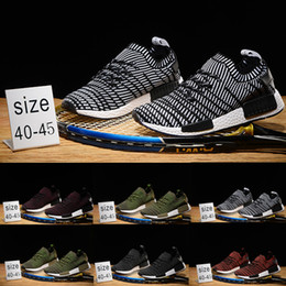Wholesale Mens Army Boots - 2018 Runner R1 STLT Primeknit Porter Duck Camo Army Zebra Triple Black Mens Running Shoes Sport Primeknit Designer Trainers boots