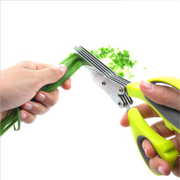 Wholesale Knife Sushi Steel - Multi-functional Stainless Steel Kitchen Knives Multi-Layers Scissors Sushi Shredded Scallion Cut Herb Spices Scissors Perfect Cooking Tools