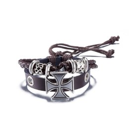 fishing bracelets for men Promo Codes - New Leather Bracelet Hot Jewelry Fashion Multilayer Cute Charm Wrap Bracelet For Women Men Jesus Cross Fish Pattern