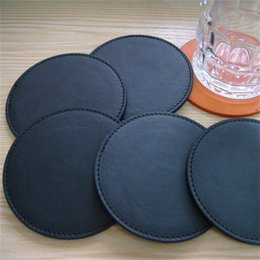 Wholesale Round Restaurant Tables - Black Coasters Insulation Bowl Pad Pu Cup Mats For Customizable Logo Custom Restaurant Utensils Table Accessories Hot Sale 2cp V