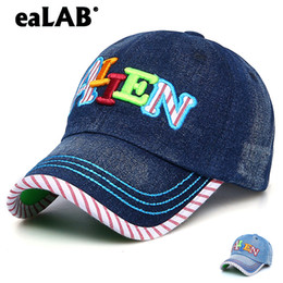 81115c81fd917 eaLAB Baseball Cap For Children Girl Full Cap Boy Dad Hat Sport Letter  Embroidery Youth Denim Bones Baseball Hat Fitted