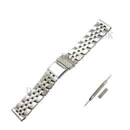 Нержавеющие металлические браслеты онлайн-22 мм 24 мм мужчины полный полированный твердые нержавеющей стали смотреть ремешок ремешок складной безопасности пряжка браслет аксессуары для Breitling SUPEROCEAN