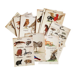 Wholesale ferocious animals - 16 Pcs lot New Vintage Animal Postcard Owl Snake Insect Lovely And Ferocious Animal Greeting Card Classic Cards Decoration
