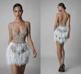 2019 Berta Evening Dresses Spaghetti Illusion Luxury Feather Beading Sexy  Backless Short Prom Dress Cocktail Gowns Rhinestone Special Dress fa6c3ceee074