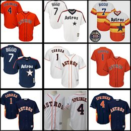 Wholesale cheap green shorts - 1 Carlos Correa 4 George Springer 7 Craig Biggio Houston Astros 100% stitched Jersey Cheap sales Baseball Jerseys