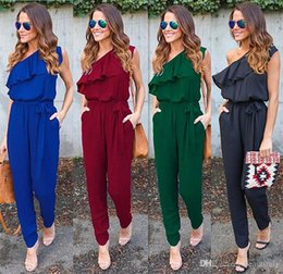 551f3c28537 недорогая модная одежда Скидка 2018 новая мода лето трещит наклонные плеча  галстук карман шить брюки сексуальные