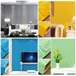 Wholesale cover entertainment - DIY Self Adhensive 3D Brick Wall Stickers Living Room Decor Foam Waterproof Covering Wallpaper For TV Background Kids Room 8 5as Z