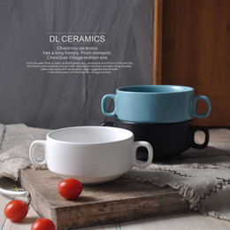 Wholesale ceramic bowls set - Set of 3 Colors Creative Table Ceramic Double Handle Soup Bowls New Porcelain Bowls Set and Mushroom Recipe Tableware