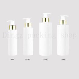 белое золото косметические бутылки Скидка 100/150/200 / 250 мл путешествия белый косметический лосьон насос пластиковые бутылки, пустые косметические упаковки золото воротник насос, шампунь бутылка насос