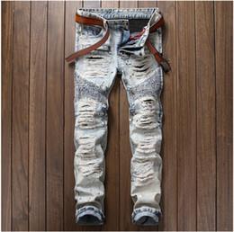 Wholesale Vintage Paint - Fashion Men's casual painted holes ripped biker jeans for Vintage light blue slim straight denim pants Long trousers 29-38