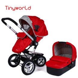 Cochecito inflable online-Cochecito de bebé de la manera de Tinyworld y cesta el dormir fijadas con los juegos de cochecitos de niño inflables del cochecito de niño de la rueda inflable del footmuff