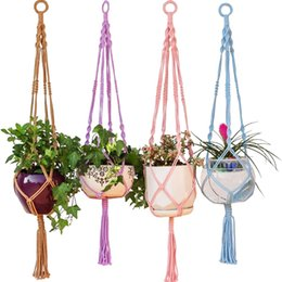 Wholesale Indoor Outdoor Plants - Colorful Macrame Plant Hanger Hanging Planter Holder Basket For Garden Flower Pot Indoor Outdoor Decoration 40 Inch (1m )